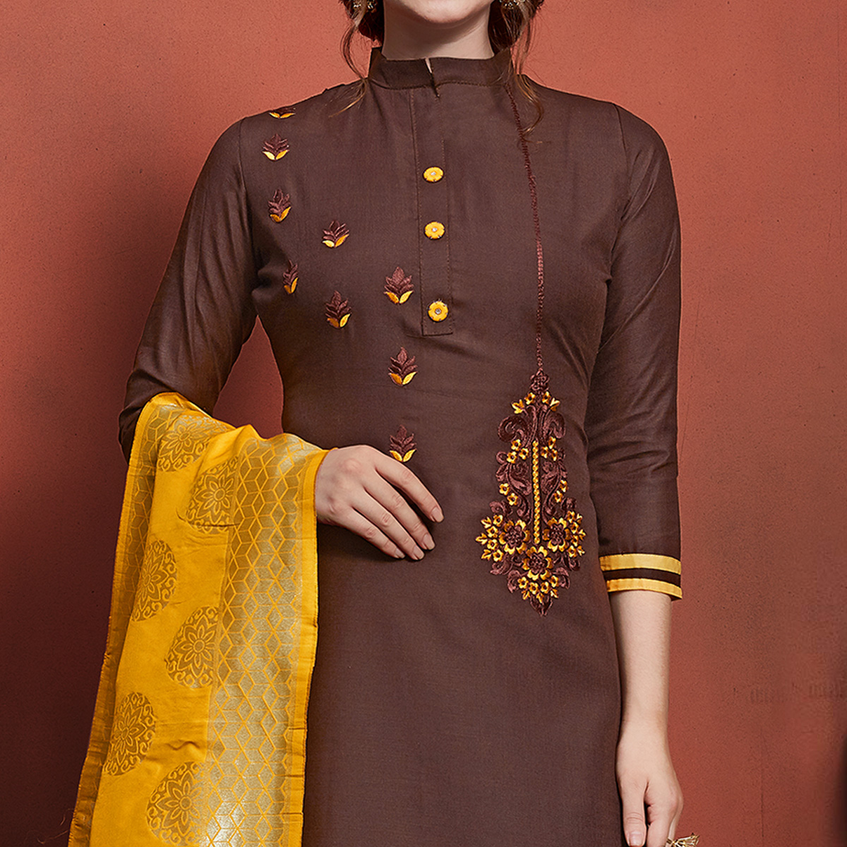 Charming Brown Colored Festive Wear Embroidered Cotton Dress Material With Banarasi Silk Dupatta