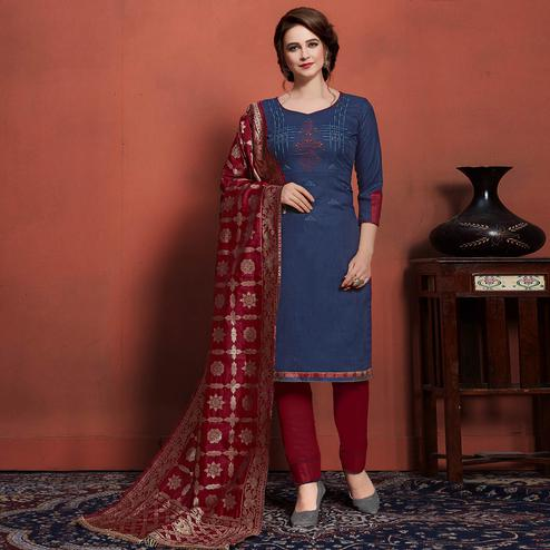 Jazzy Navy Blue Colored Festive Wear Embroidered Cotton Dress Material With Banarasi Silk Dupatta