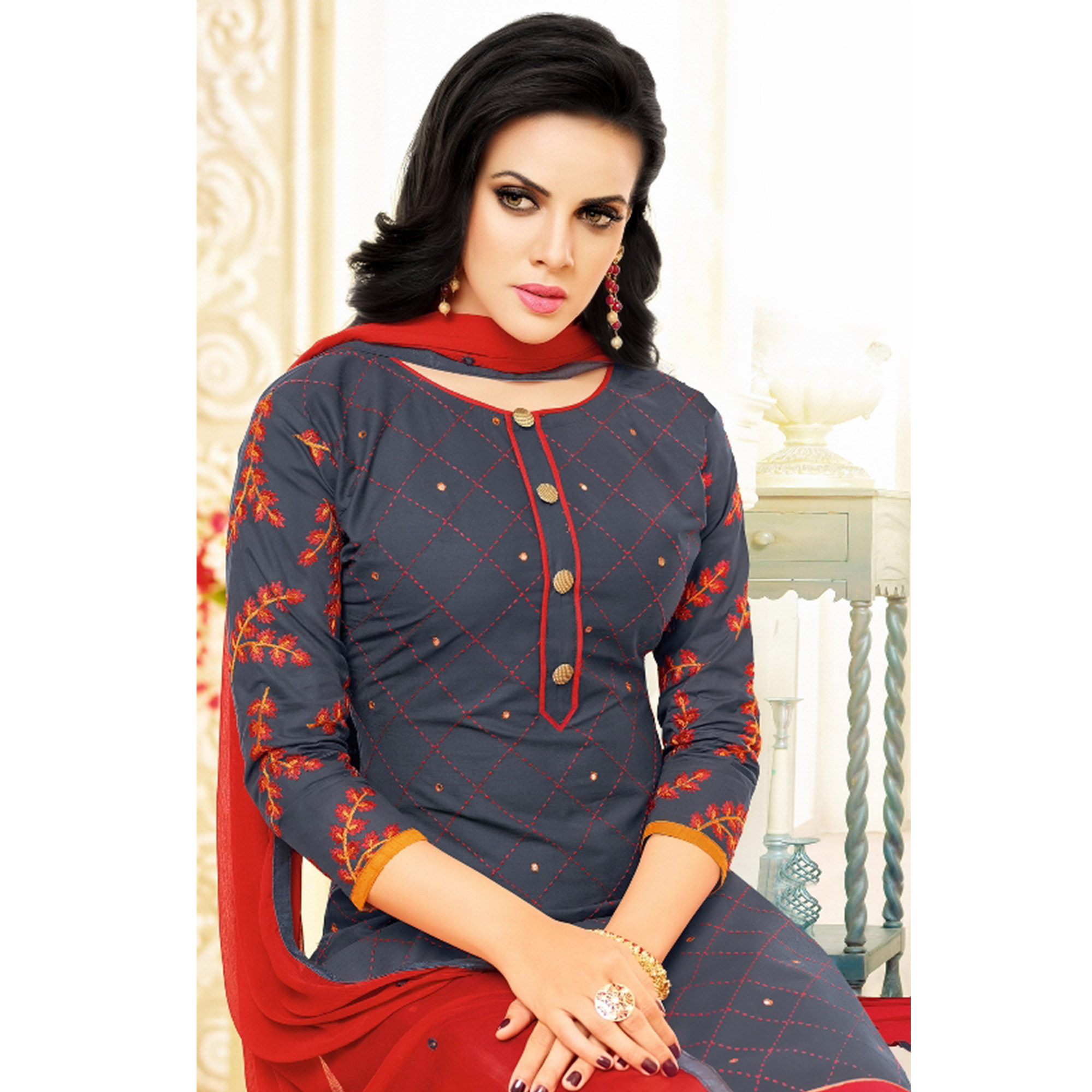 Amazing Dark Grey Colored Partywear Embroidered Cotton Dress Material