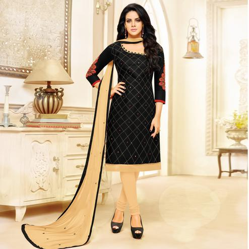 Gorgeous Black Colored Partywear Embroidered Cotton Dress Material