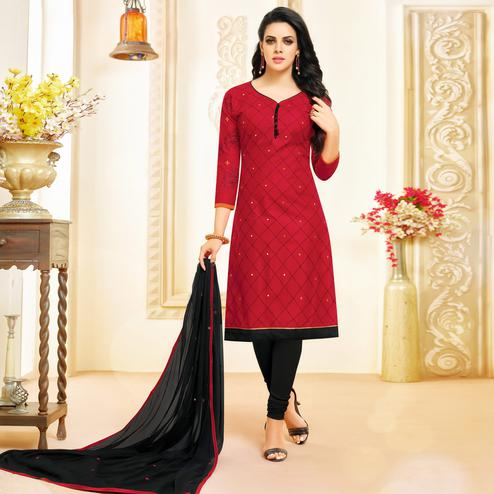 Lovely Red Colored Partywear Embroidered Cotton Dress Material