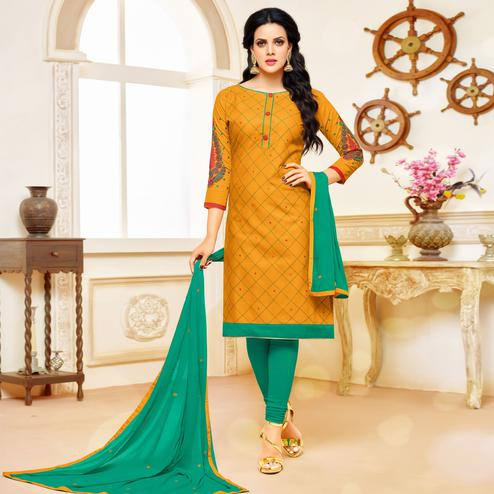Majesty Mustard Yellow Colored Partywear Embroidered Cotton Dress Material