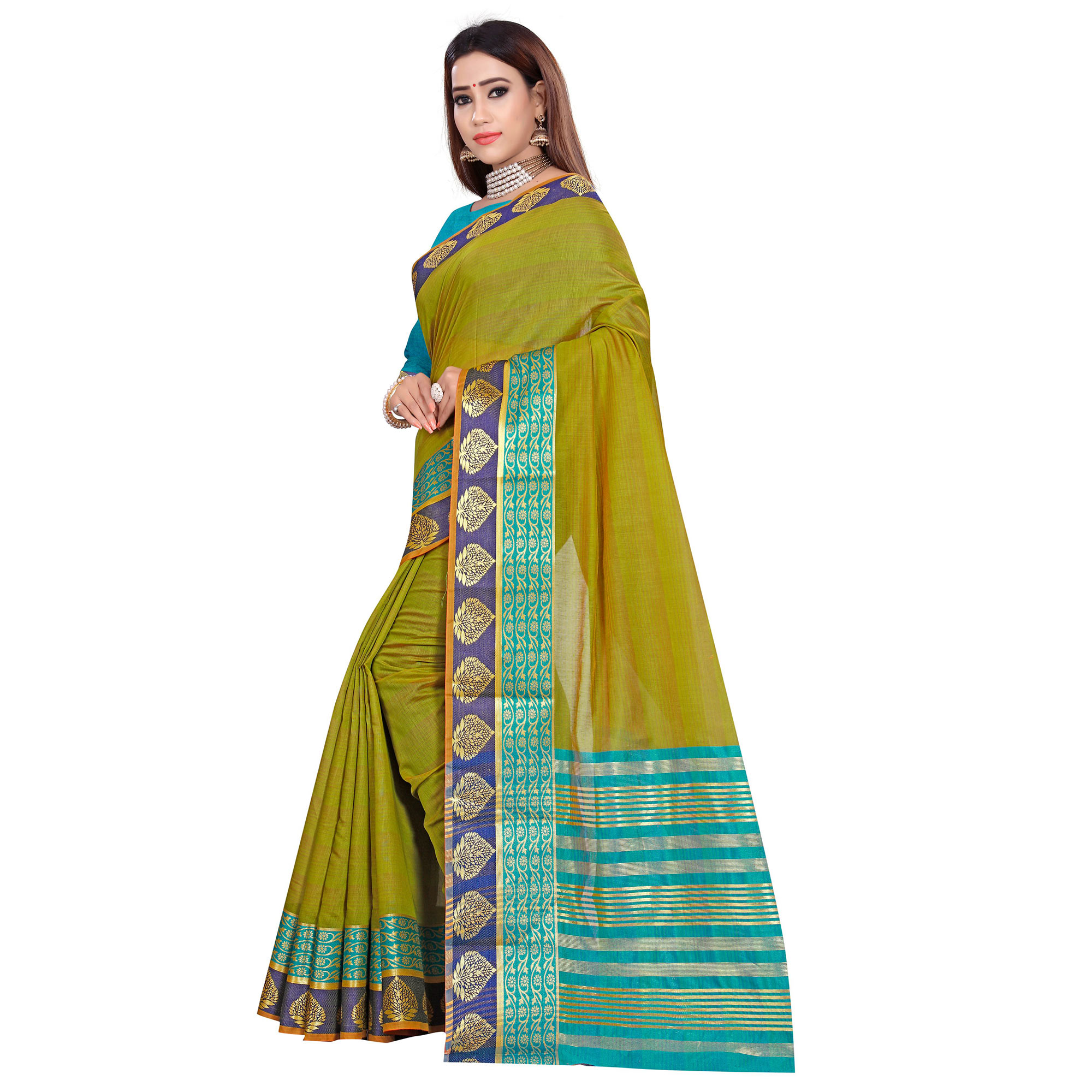 Adorning Olive Green Colored Festive Wear Woven Pure Cotton Saree