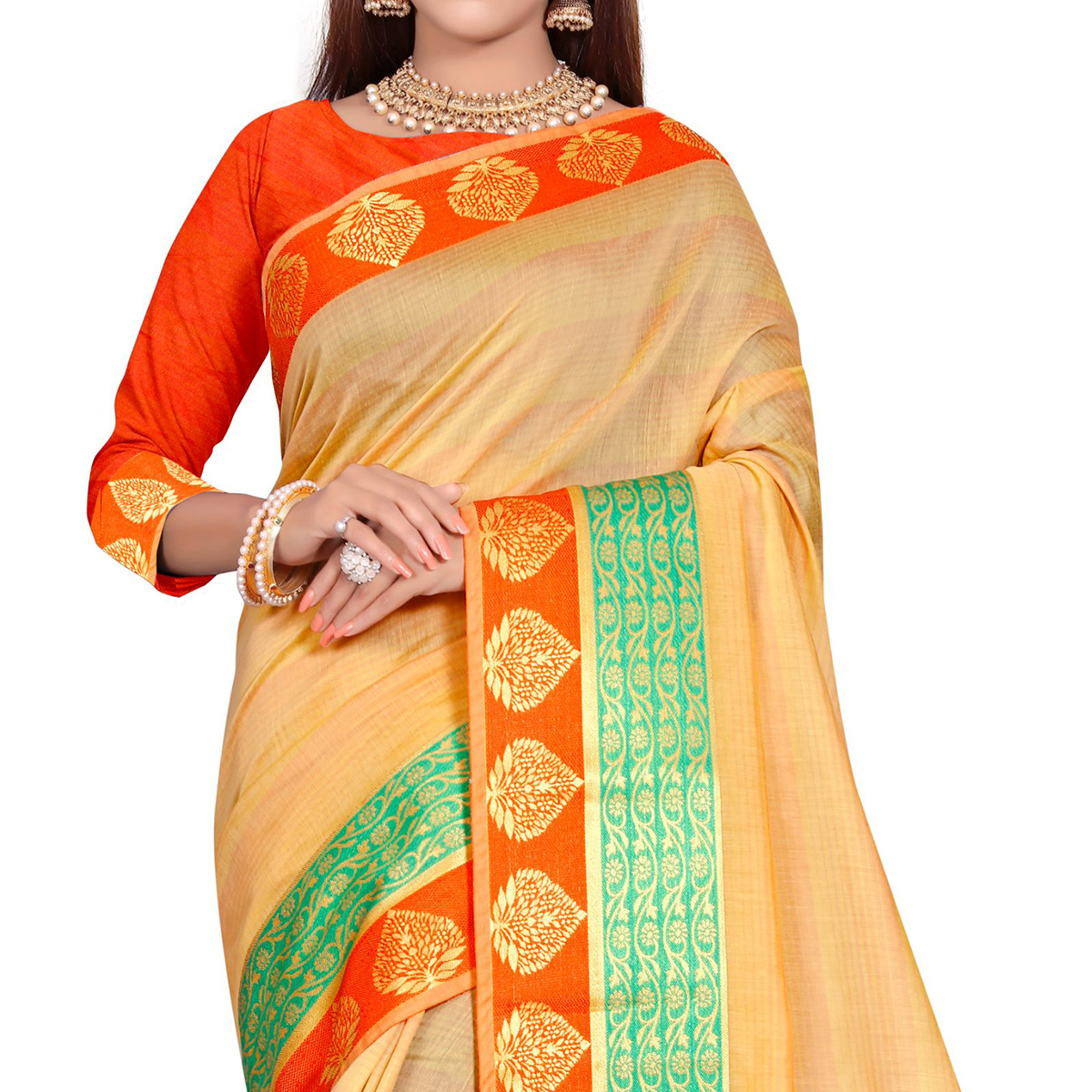 Appealing Yellow-Orange Colored Festive Wear Woven Pure Cotton Saree
