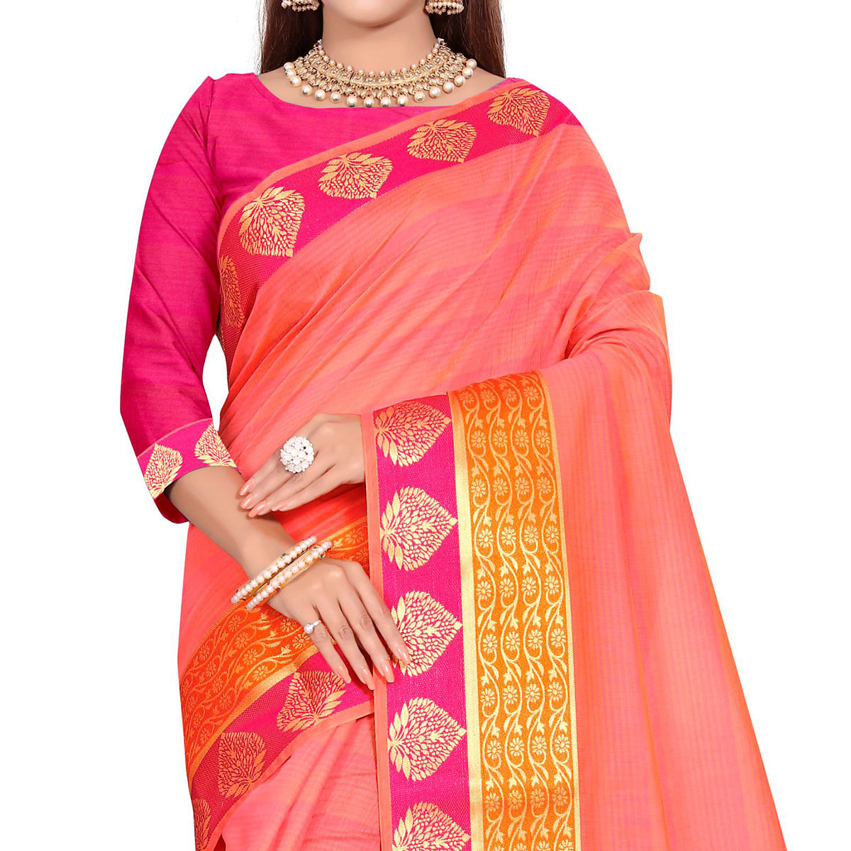 Entrancing Pink Colored Festive Wear Woven Pure Cotton Saree