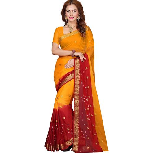 Classy Yellow-Red Colored Festive Wear Bandhani Printed Chiffon Saree