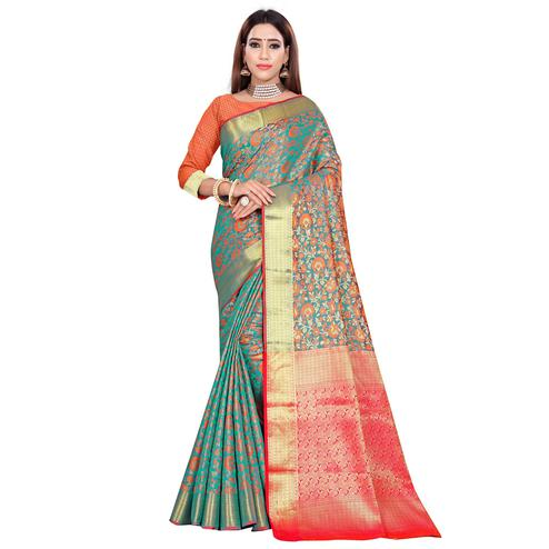 Classy Turquoise Green Colored Festive Wear Woven Banarasi Silk Saree