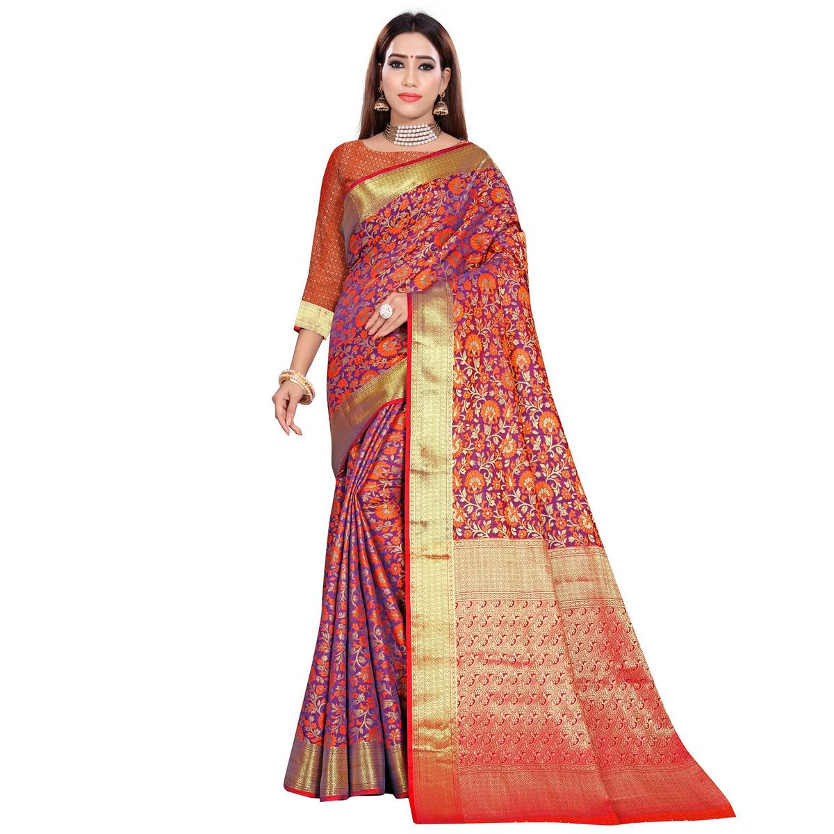 Groovy Purple Colored Festive Wear Woven Banarasi Silk Saree