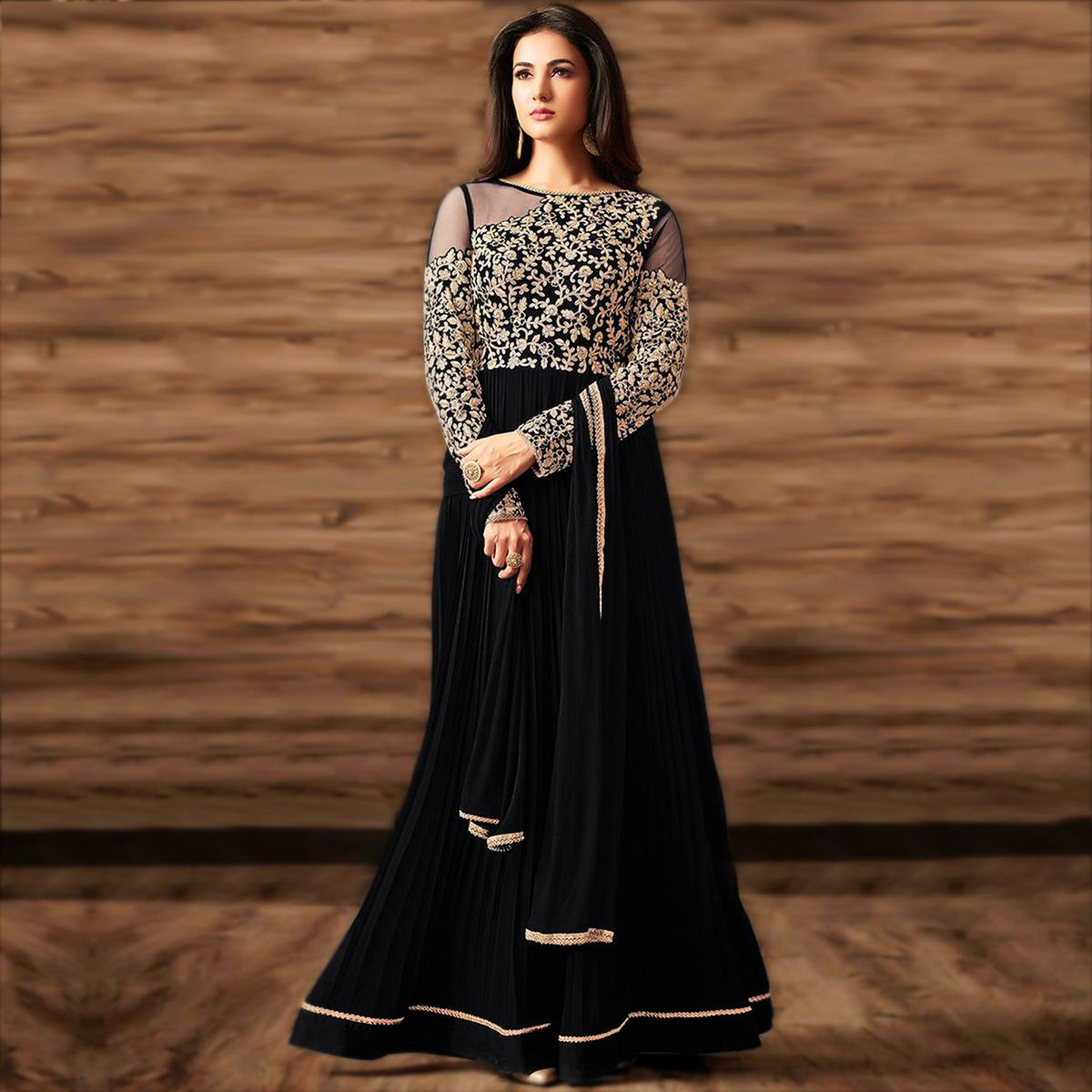 Magnetic Black Colored Partywear Embroidered Georgette Anarkali Suit