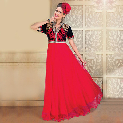 Deep Red Embroidered Work Gown