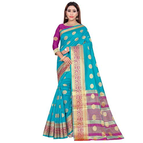 Glorious Firozi Colored Festive Wear Woven Art Silk Saree