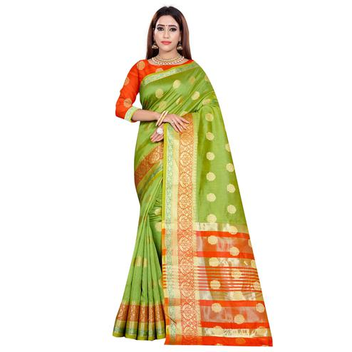 Attractive Light Green Colored Festive Wear Woven Art Silk Saree