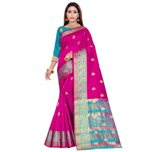 Beautiful Dark Pink Colored Festive Wear Woven Art Silk Saree