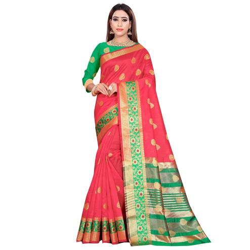 Graceful Pink Colored Festive Wear Woven Art Silk Saree