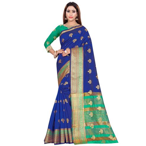 Blooming Royal Blue Colored Festive Wear Woven Art Silk Saree