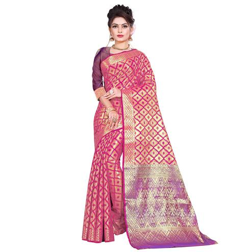 Blissful Dark Pink Colored Festive Wear Woven Kanjivaram Silk Saree