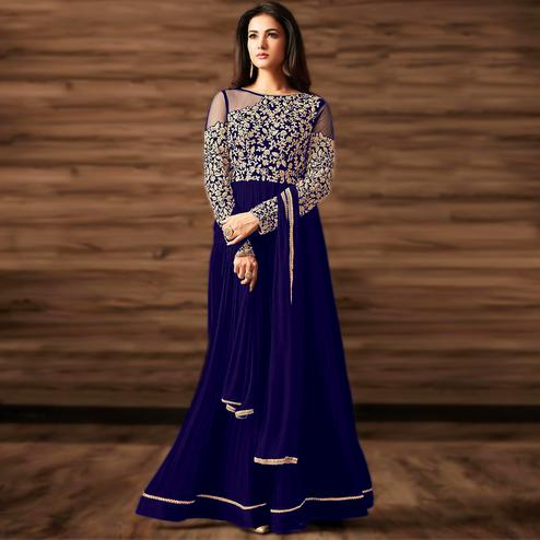 Hypnotic Blue Colored Partywear Embroidered Georgette Anarkali Suit