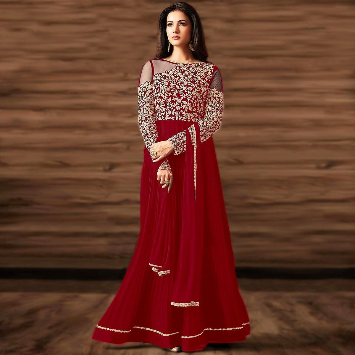 Flattering Red Colored Partywear Embroidered Georgette Anarkali Suit