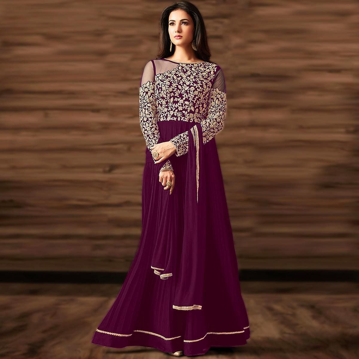 Excellent Purple Colored Partywear Embroidered Georgette Anarkali Suit