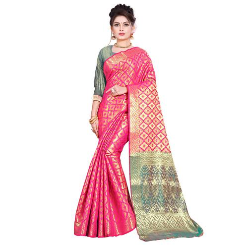 Ideal Pink Colored Festive Wear Woven Kanjivaram Silk Saree