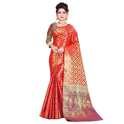 Imposing Red Colored Festive Wear Woven Kanjivaram Silk Saree