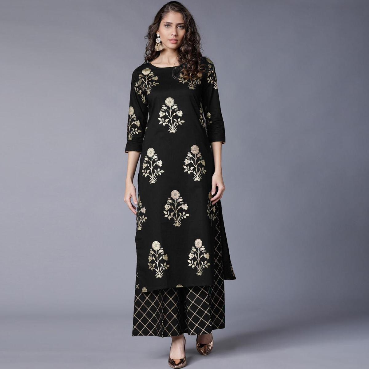 Staring Black Colored Partywear Foil Printed Rayon Kurti With Palazzo