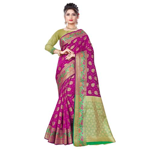 Breathtaking Dark Pink Colored Festive Wear Woven Banarasi Silk Saree