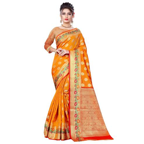 Ethnic Mustard Yellow Colored Festive Wear Woven Banarasi Silk Saree