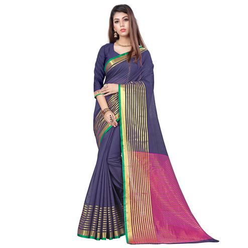 Glorious Blue Colored Casual Printed Cotton Saree