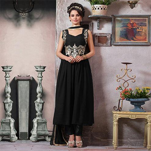 Black Embroidered Work Georgette Suit