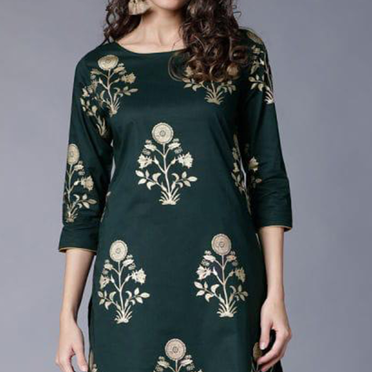 Dazzling Green Colored Partywear Foil Printed Rayon Kurti With Palazzo