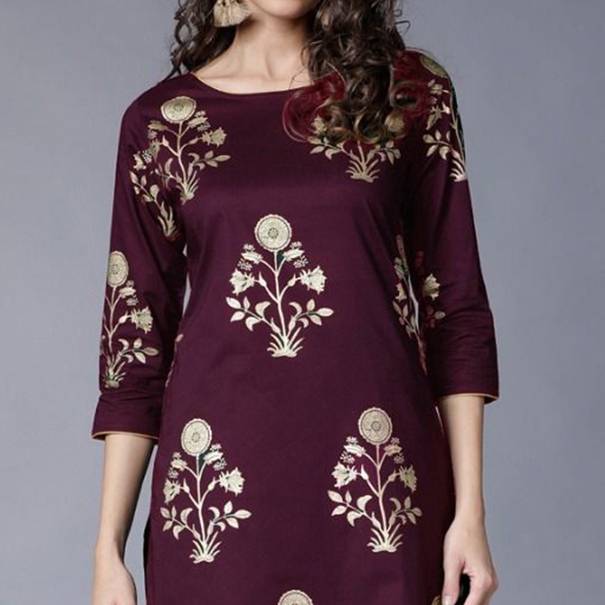 Surpassing Maroon Colored Partywear Foil Printed Rayon Kurti With Palazzo
