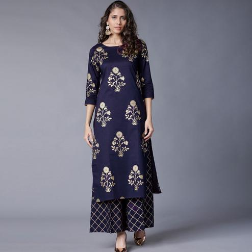Flaunt Blue Colored Partywear Foil Printed Rayon Kurti With Palazzo