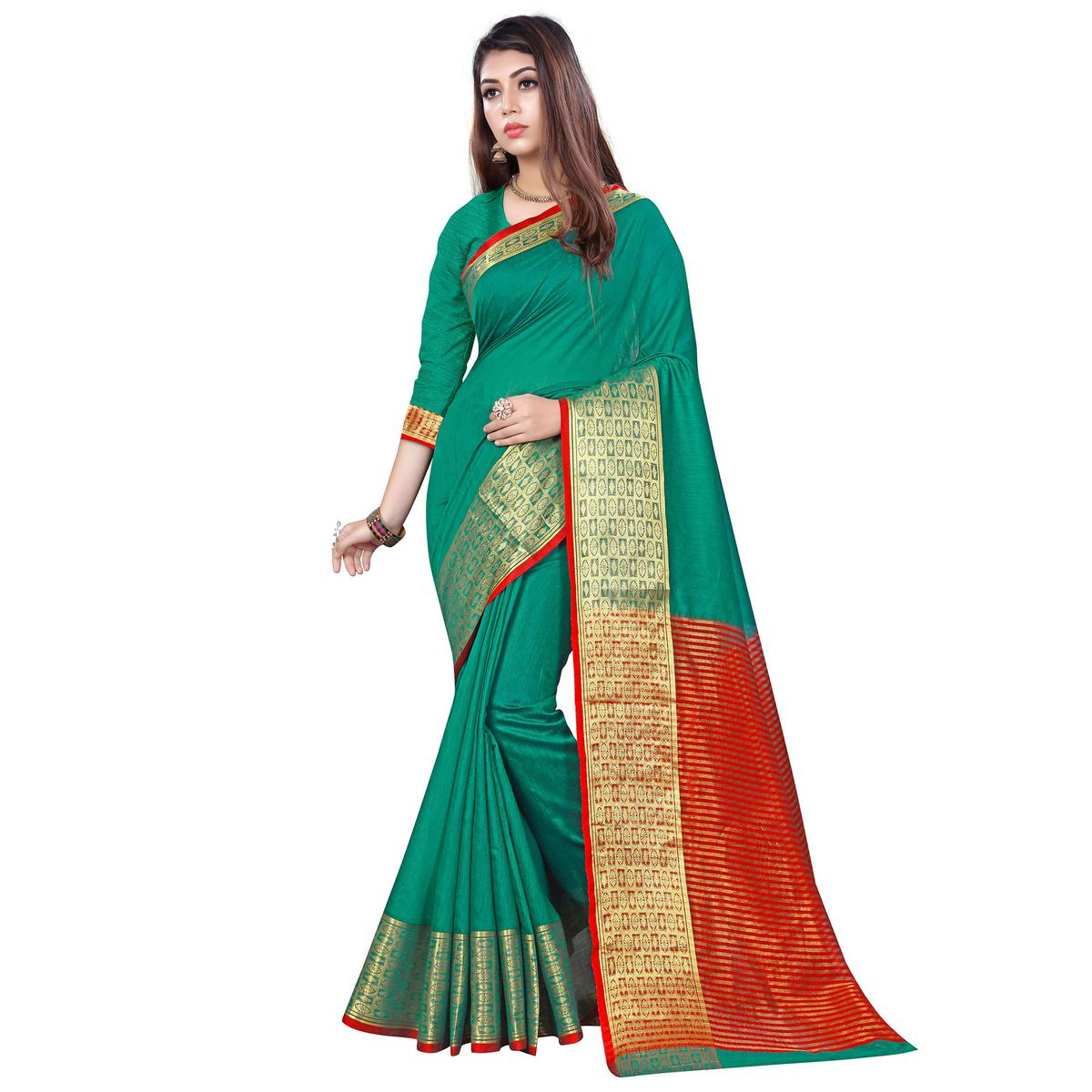Attractive Turquoise Green Colored Casual Printed Cotton Saree