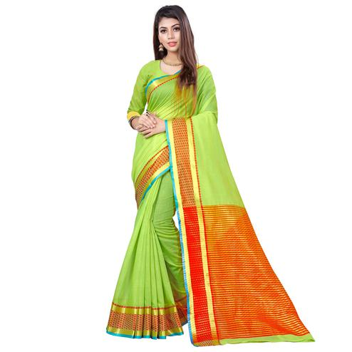 Beautiful Light Green Colored Casual Printed Cotton Saree