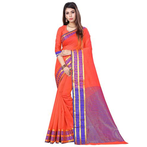 Trendy Peach Colored Casual Printed Cotton Saree