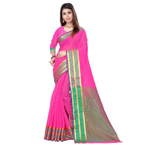 Elegant Pink Colored Casual Printed Cotton Saree