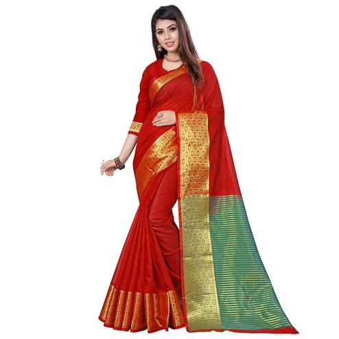 Radiant Red Colored Casual Printed Cotton Saree
