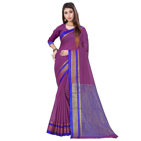 Innovative Purple Colored Casual Printed Cotton Saree