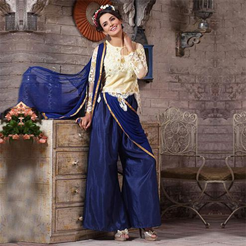 Cream - Navy Blue Embroidered Work Palazzo Suit