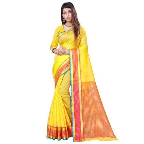 Gorgeous Yellow Colored Casual Printed Cotton Saree