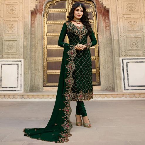 Demanding Green Colored Partywear Embroidered Faux Georgette Suit