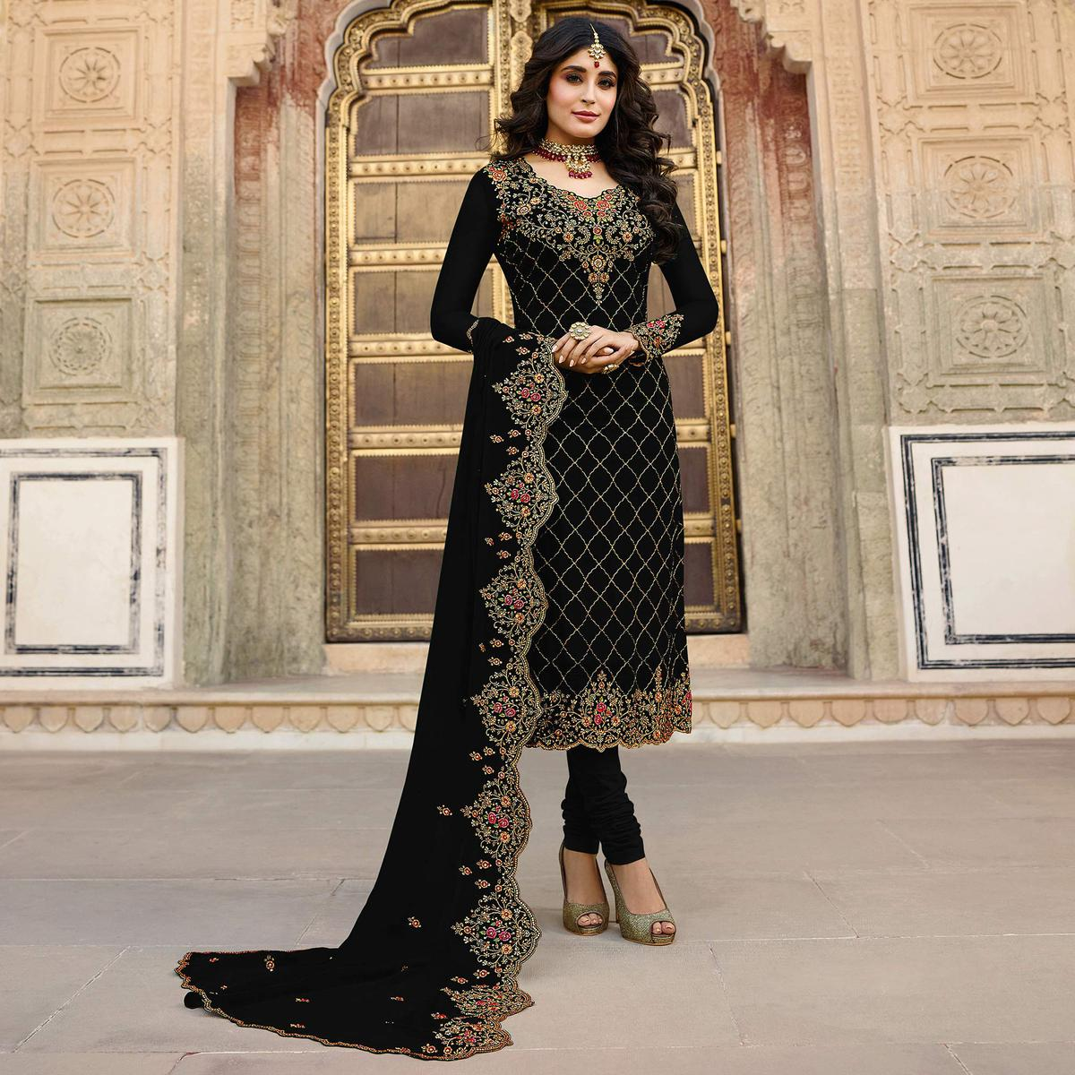 Hypnotic Black Colored Partywear Embroidered Faux Georgette Suit