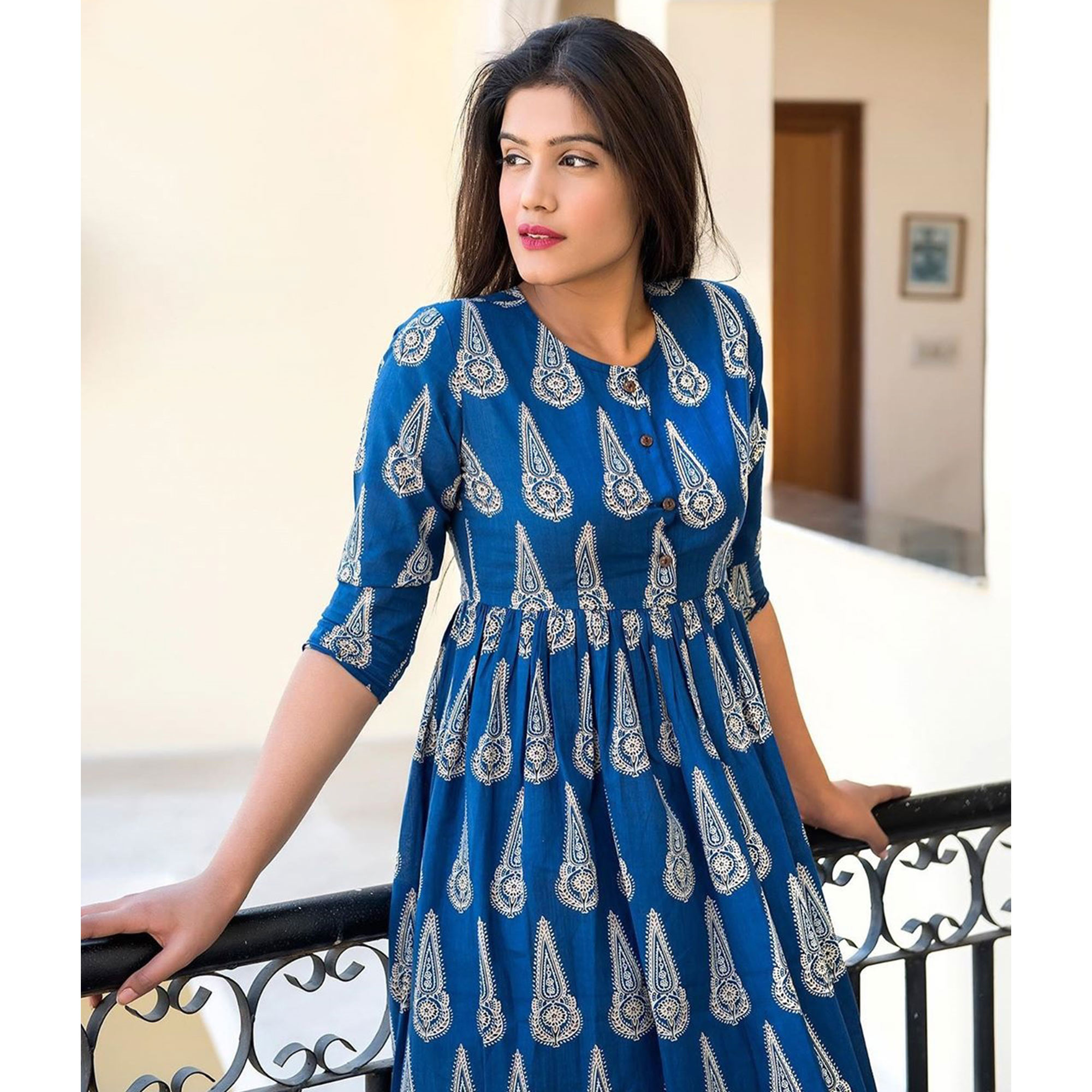 Desirable Blue Colored Casual Printed Muslin Blend Gown