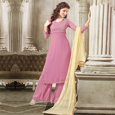 Rose Pink Georgette Embroidered Work Dress Material