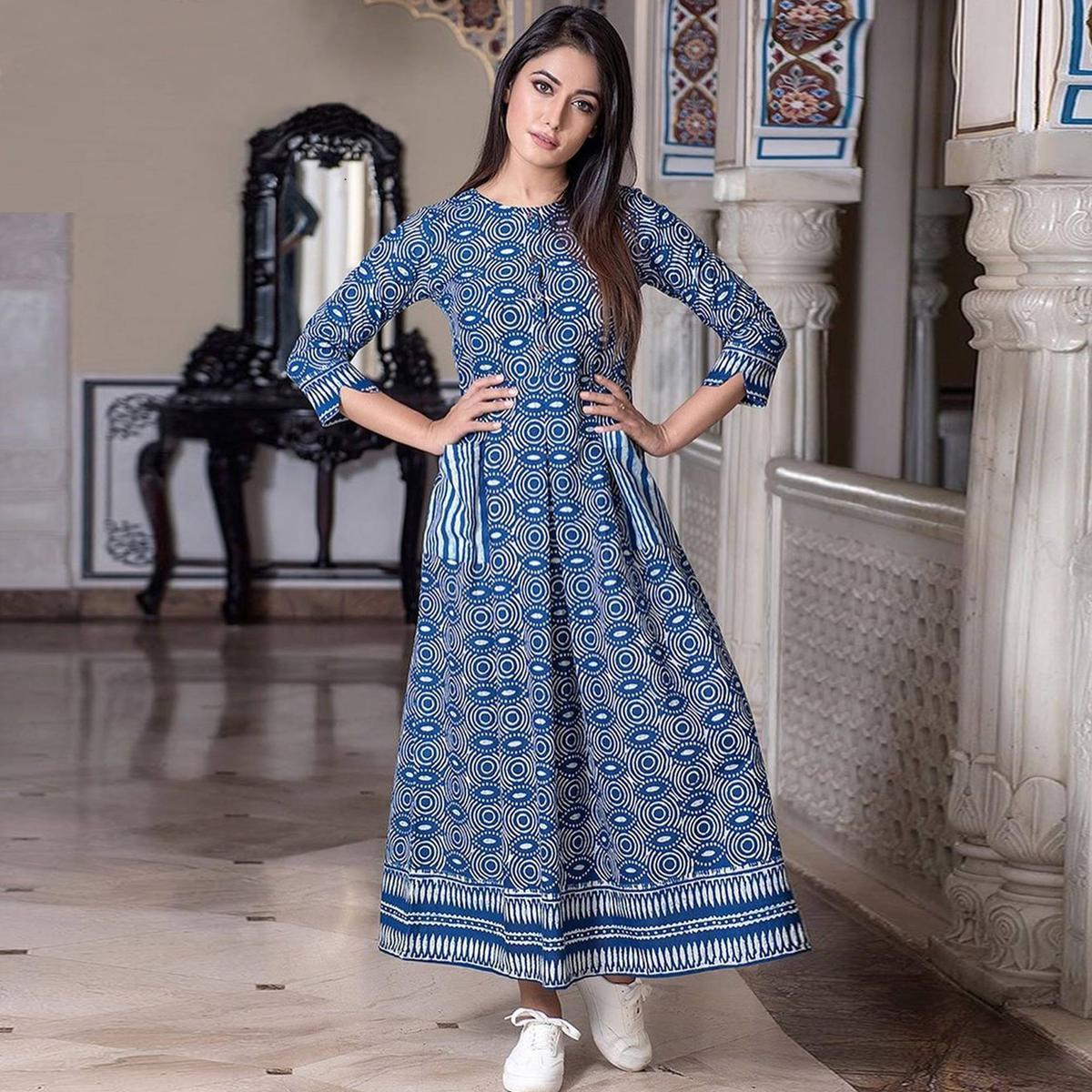 Trendy Blue Colored Casual Printed Muslin Blend Gown