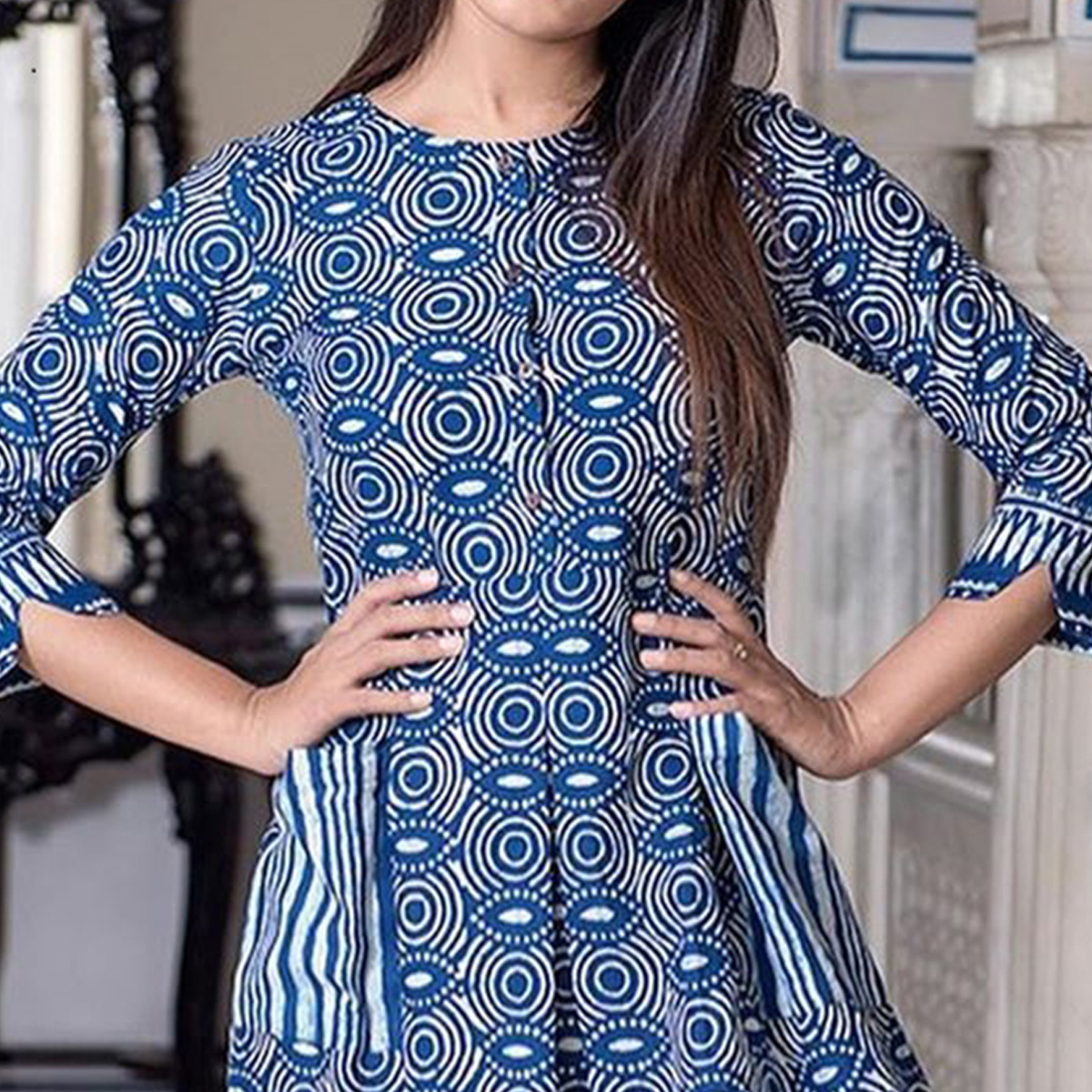Trendy Blue Colored Casual Printed Pure Muslin Gown