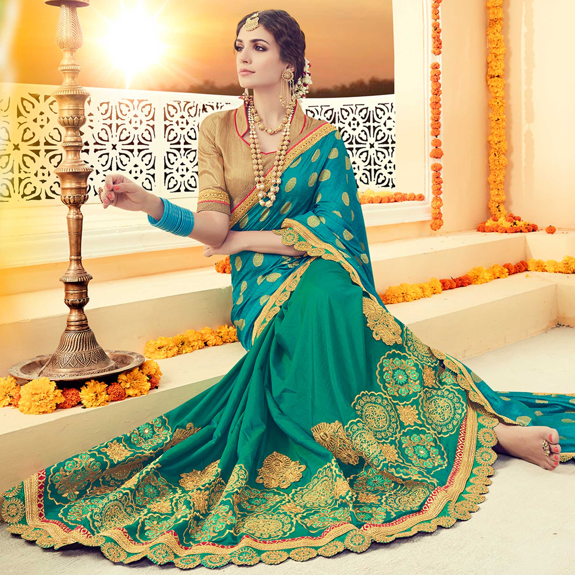 Flattering Sky Blue Colored Partywear Embroidered Silk Half-Half Saree