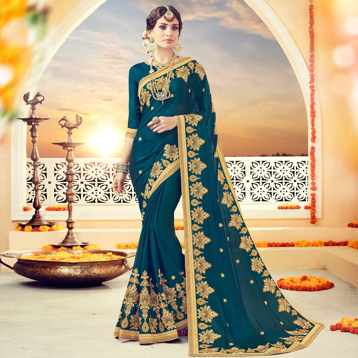 Alluring Teal Green Colored Partywear Georgette Embroidered Silk Saree