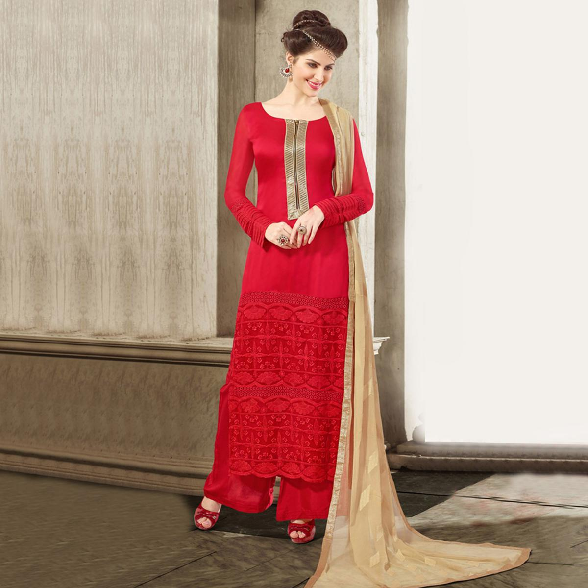 Deep Red Georgette Dress Material
